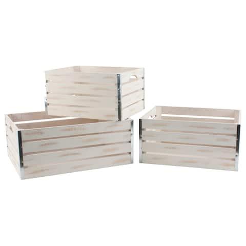 Set of 3 Large Whitewash Wood Crates