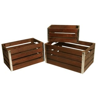Set of 3 Medium Wood Crates