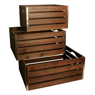 Set of 3 Large Wood Crates