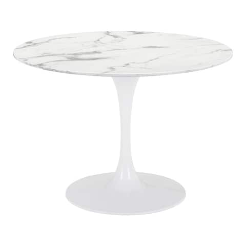 Silver Orchid GuittyFaux Marble Dining Table - stone & white