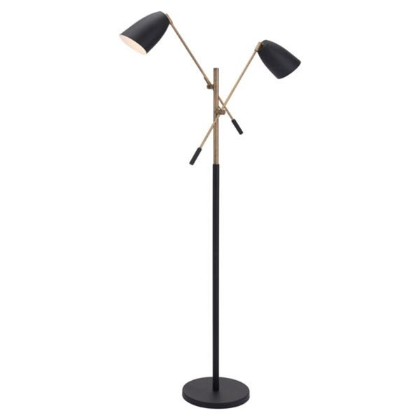 Tanner Floor Lamp Matt Black & Brass