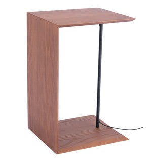 Chester Walnut-finish Steel/Plastic Wireless Charging Side Table
