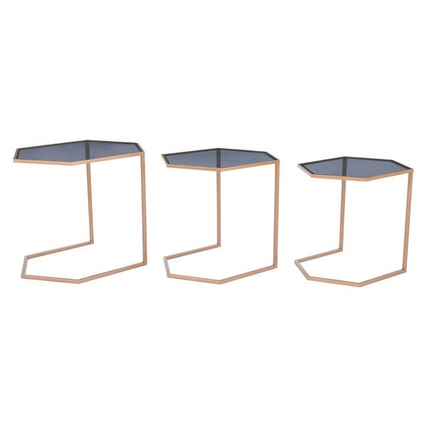 Geo Black Gold Steel Gl Nesting Tables Set Of 3