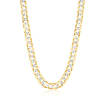La Preciosa Sterling Silver Gold Tone Rhodium Plated 180 Gauge Flat Pave 7.3mm Cuban Chain