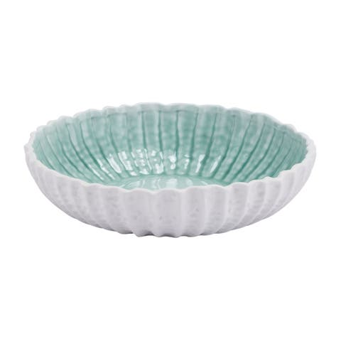 Porch & Den Portage Large White and Green Bowl