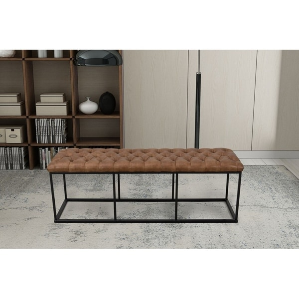 HomePop Draper Large Decorative Bench with Button Tufting - Light Brown Faux Leather