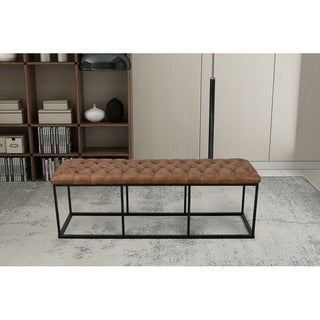 HomePop Draper Large Decorative Bench with Light Brown Faux Leather