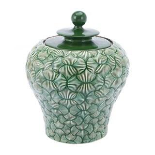 Porch & Den Small Green Ceramic Decorative Temple Jar - N/A