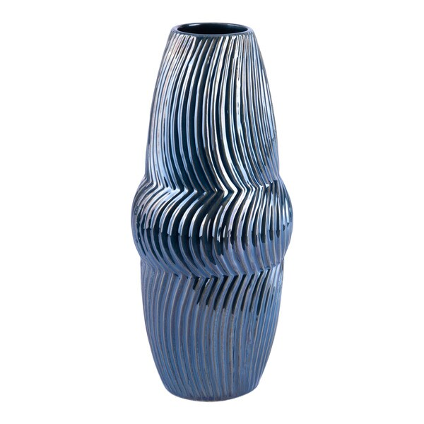 Porch & Den Small Blue Curve Ribbed Vase