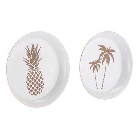 Porch & Den White and Gold Palm Tree and Pineapple 2-piece Tray Set