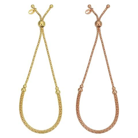 Fremada Italian Gold Over Sterling Silver Adjustable Length Mesh Bolo Bracelet (yellow or rose or white)