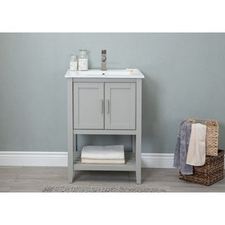 Legion Furniture 24 in. Westchester Gray Bathroom Vanity with Ceramic Top