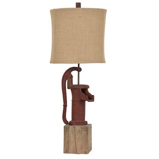 Antique Pump Rustic Red 34-inch Table Lamp
