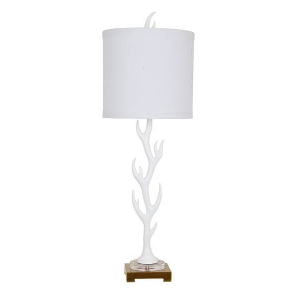 White Flame White Glossy 38.5-inch Table Lamp