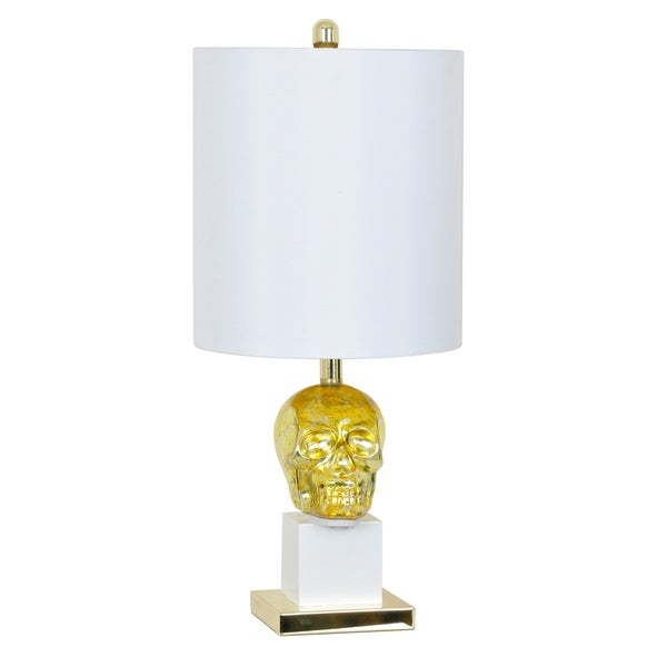 Golden Skull Gold Mercury and White 27-inch Table Lamp
