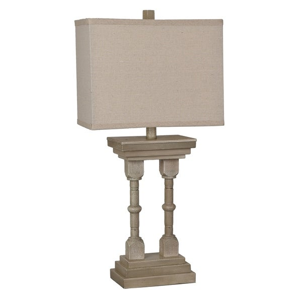 Wooden Column Bleached Wood 26.5-inch Table Lamp