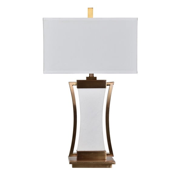 Sullivan Brass and White 30-inch Table Lamp