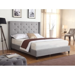 Best Master Furniture Upholstered Wingback Panel Bed