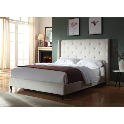 Best Master Furniture Upholstered Fabric Wingback Panel Bed