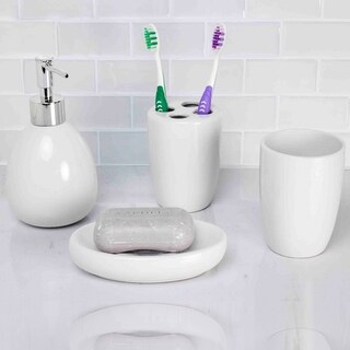 White 4 Piece Bath Accessory Set