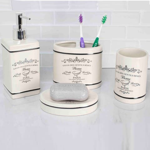 Paris 4 Piece Bath Accessory Set (White)
