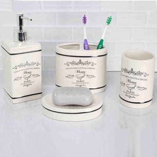 Link to Paris 4 Piece Bath Accessory Set (White) Similar Items in Toothbrush Holders