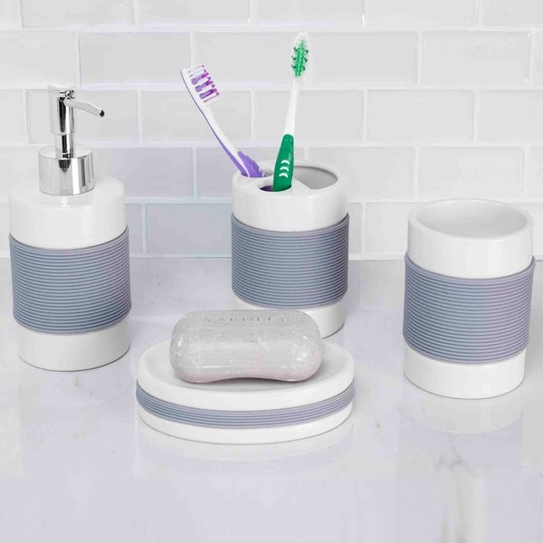4 Piece Bath Accessory Set With Rubber Grip