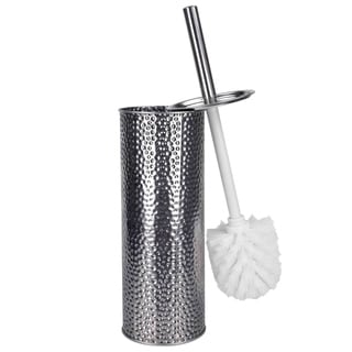 Hammered Stainless Steel Toilet Brush and Holder Set