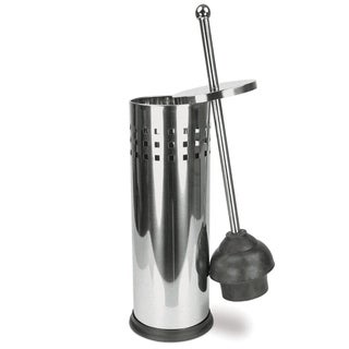 Brushed Stainless Steel Toilet Plunger and Holder Set