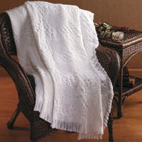 Manual Woodworkers Basketweave Hearts Solid White 2 Layer Throw