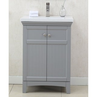Legion Furniture 24 in. bathroom Vanity in Gray with Porcelain Vanity Top