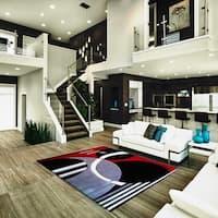"Abstract Design Red Black Polypropylene Area Rug - 5'3"" x 7'5"""