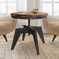 Aubrey Industrial Coffee Table in Silver Brushed Gray with Rustic Pine Top