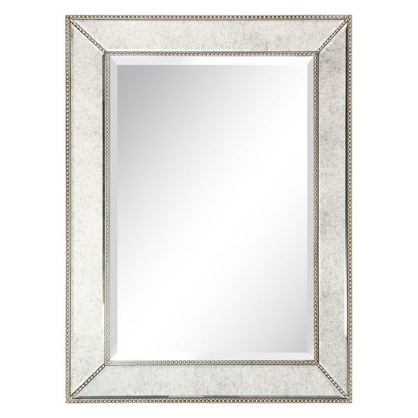 Shop Empire Art Champagne Beed Beveled Wall Mirror Solid Wood Frame