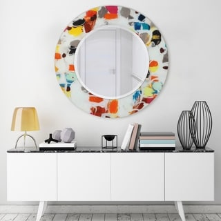 Round Beveled Wall Mirror Printed Tempered Art Glass Frame - 48 x 48
