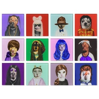 Empire Art Glass Pets Rock Coasters with Cork Bottom - Music 12 characters
