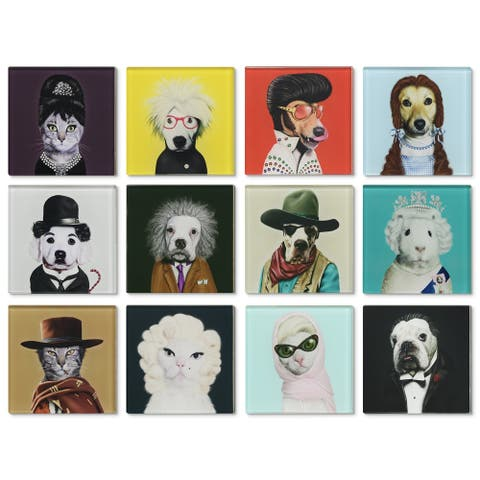 Empire Art Glass Pets Rock Coasters with Cork Bottom - Icons 12 characters