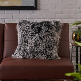 Zally Glam Shaggy Lamb Fur 20-Inch Square Throw Pillow by Christopher Knight Home