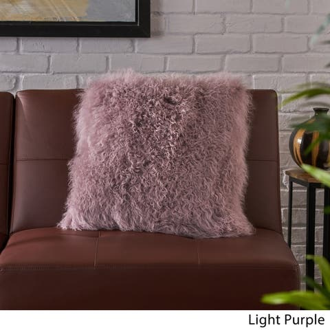 Zally Square Shaggy Fur Pillow by Christopher Knight Home