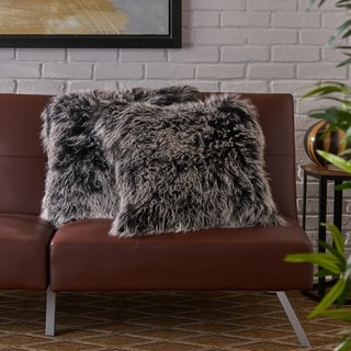 Zally Glam Shaggy Lamb Fur 20-Inch Square Throw Pillows (Set of 2) by Christopher Knight Home