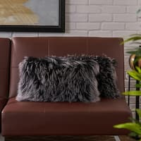 Zally Rectangle Shaggy Fur Pillow (Set of 2) by Christopher Knight Home