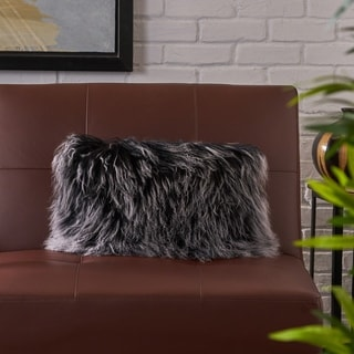 Zally Rectangle Shaggy Fur Pillow by Christopher Knight Home