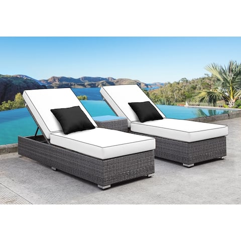 SOLIS Lusso 3-Piece Chaise Lounge Set - White Cushions, Black Pillows