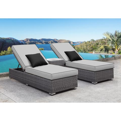 SOLIS Lusso 3-Piece Chaise Lounge Set - Grey Cushions, Black Pillows