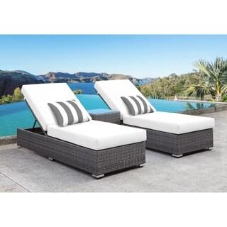 SOLIS Lusso 3-Piece Chaise Lounge Set - Wht Cushions, Gry/Wht Pillows
