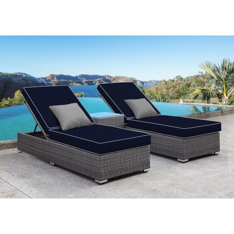 SOLIS Lusso 3-Piece Chaise Lounge Set - Navy Cushions, Grey Pillows