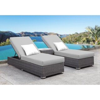 SOLIS Lusso 3-Piece Chaise Lounge Set - Grey Cushions, White Pillows