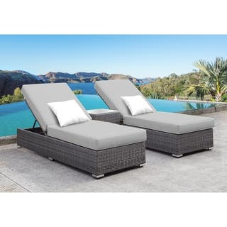 Solis Lusso 3 Piece Chaise Lounge Set Grey Cushions White Pillows