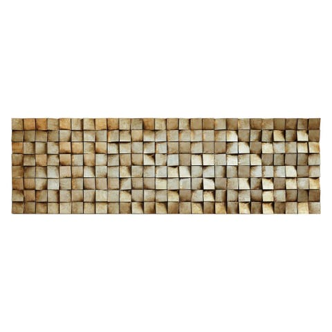 """Textured 2 Handed Painted Rugged Wooden Blocks Wall Décor - Brown"
