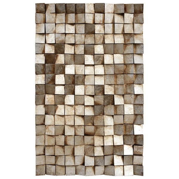 """Textured 1"" Metallic Handed Painted Rugged Wooden Blocks Wall Art"